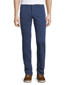 Stretch Chino Flat-Front Pants, Blue