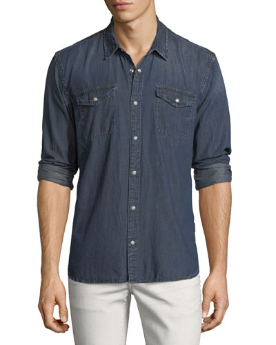 Denim Snap-Front Sport Shirt