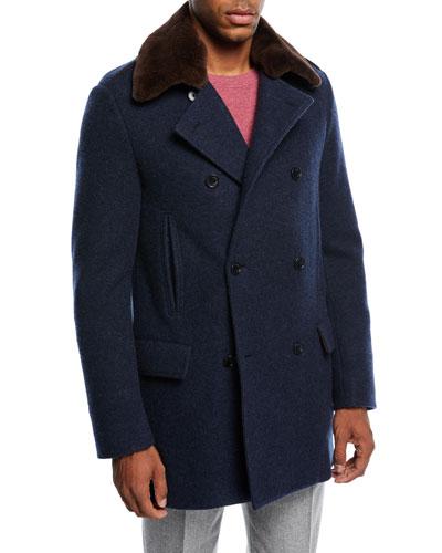 San Francisco Fur-Trim Pea Coat