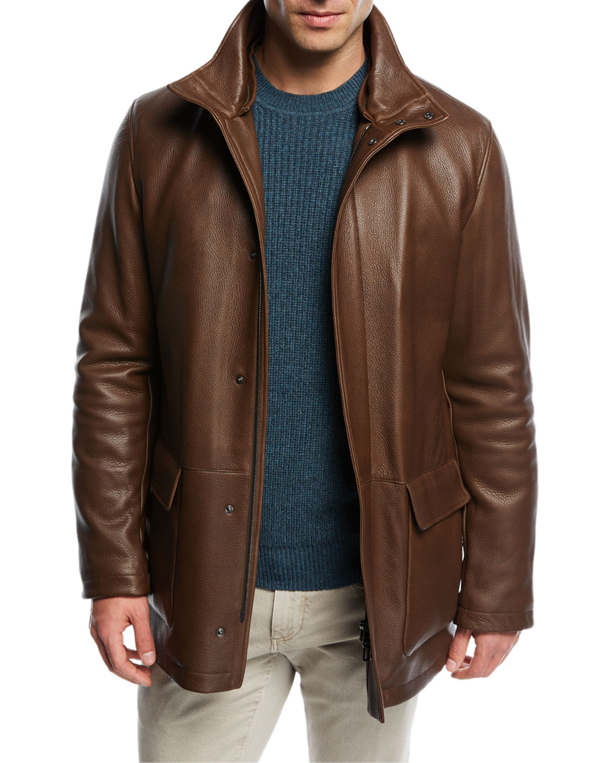 Winter Voyager Long Leather Coat