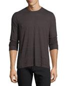 Long-Sleeve Printed Ramie-Blend T-Shirt