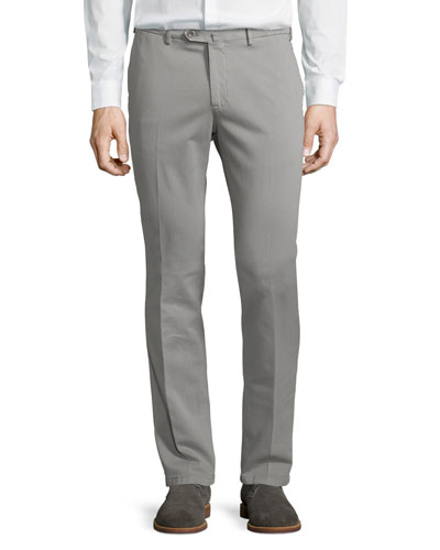 Soft Stretch-Cotton Slim-Fit Pants