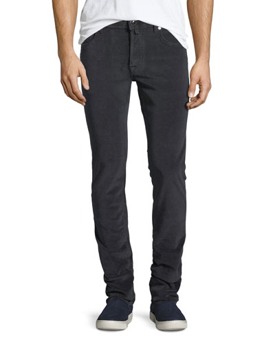 Five-Pocket Stretch-Corduroy Pants, Gray
