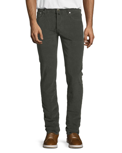 Five-Pocket Stretch-Corduroy Pants, Olive