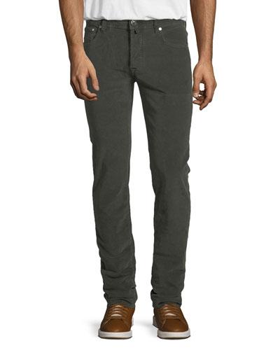 Five-Pocket Stretch-Corduroy Pants, Olive