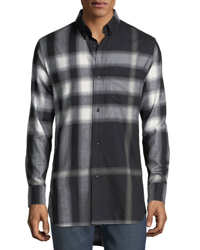 Urban Check Cotton Flannel Shirt, Black