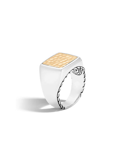 Konstantino Mens Sterling Silver & 18K Gold Signet Ring with Ruby Root xnMSHf