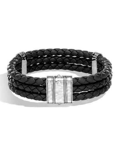 Men's Classic Chain Leather Triple Row Bracelet