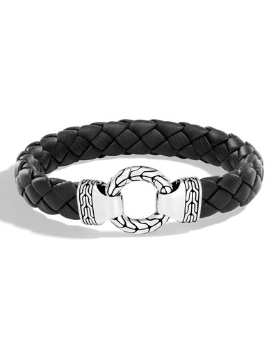 Gucci Mens Leather Bracelet w/ Silver Bull Stations 28N6P3g