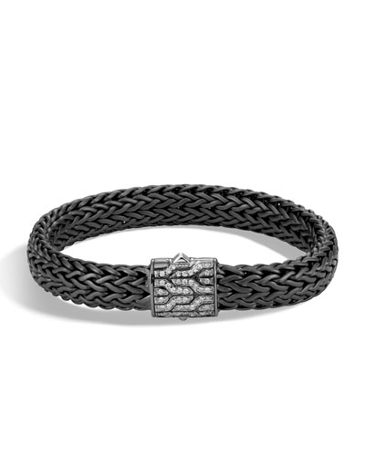 Men's Classic Chain Rhodium-Plated Bracelet with Diamonds