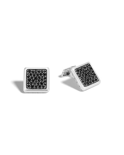 Classic Chain Cuff Links with Black Sapphire