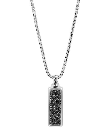 Men's Classic Chain Pendant Necklace with Black Sapphire