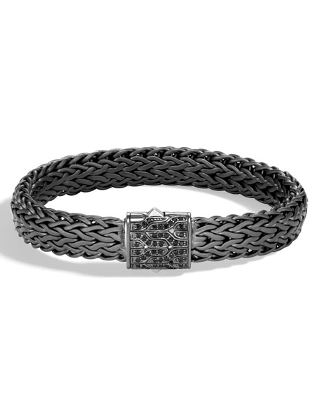 John Hardy Men's Classic Chain Rhodium-Plated Bracelet with Black Sapphire