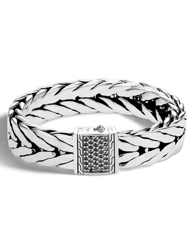Men's Extra-Large Modern Chain Bracelet with Black Sapphire