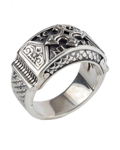 Konstantino Mens Sterling Silver Signet Ring with Ruby Root AFP5fQ