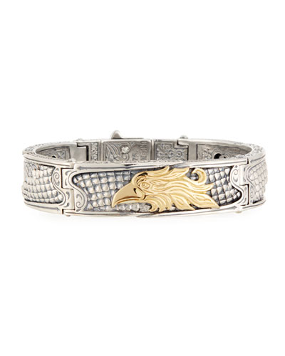 Heonos Men's Sterling Silver/Gold Eagle Hinge Bracelet