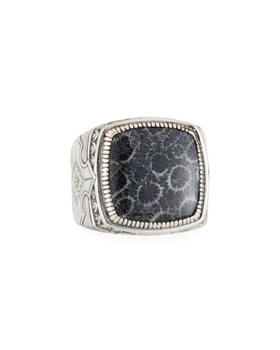 Heonos Men's Square Black Coral Ring