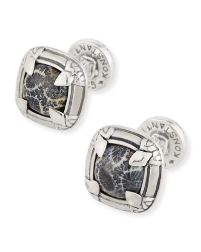 Heonos Square Black Coral Cuff Links