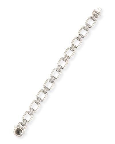 Heonos Men's Sterling Silver Link Bracelet w/ Black Coral