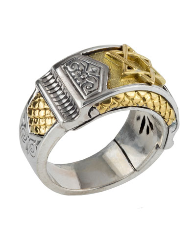 Men's Sterling Silver & Gold Star of David Ring