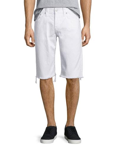 Ricky Flap-Pocket Cutoff Shorts, White