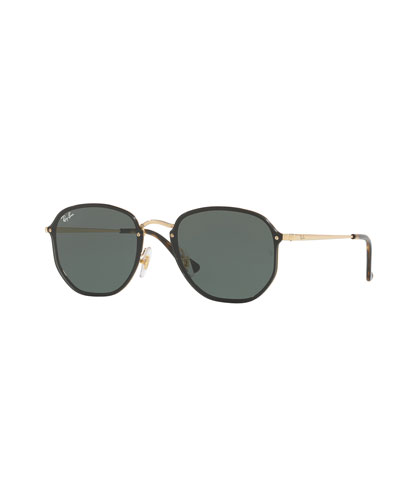 Blaze Hexagonal Sunglasses, Gold/Black