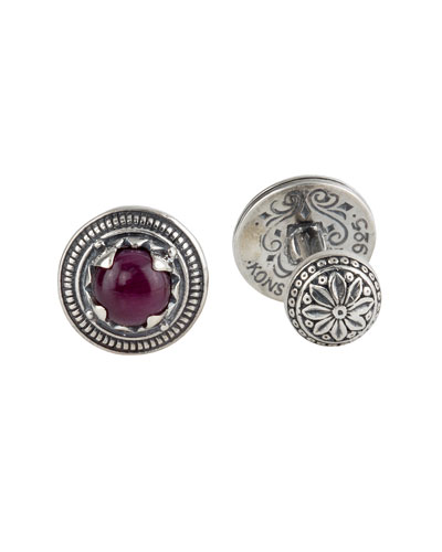 Round Sterling Silver Cuff Links with Ruby Root
