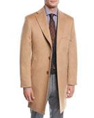 Single-Breasted Camel Hair Top Coat, Beige