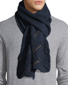 Cashmere Leather-Trim Scarf