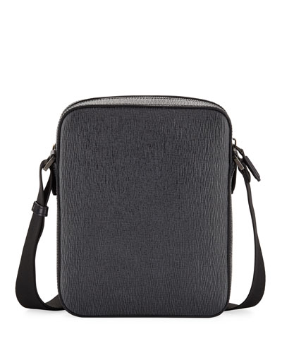 Revival Men's Leather Crossbody Bag, Gray