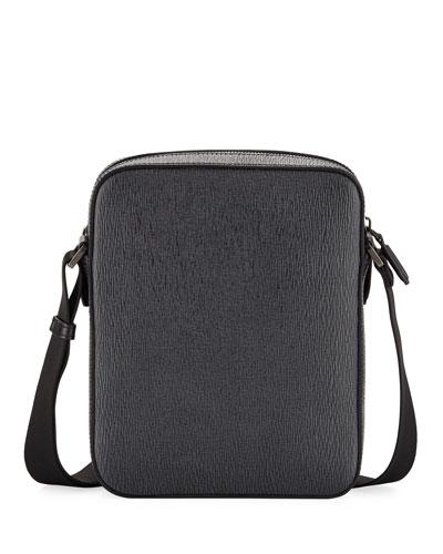 Men's Revival Men's Leather Crossbody Bag, Gray