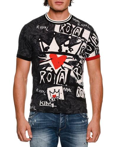 Royal Graffiti Cotton T-Shirt