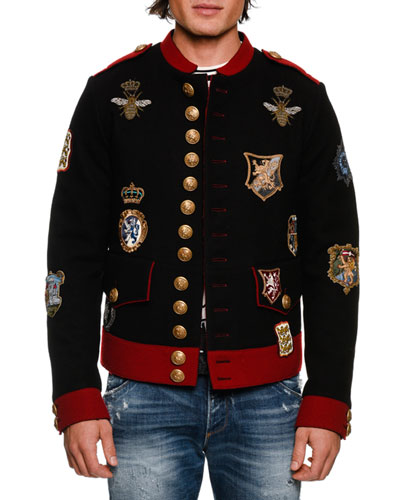 BLK RED MILITARY SHORT JKT W