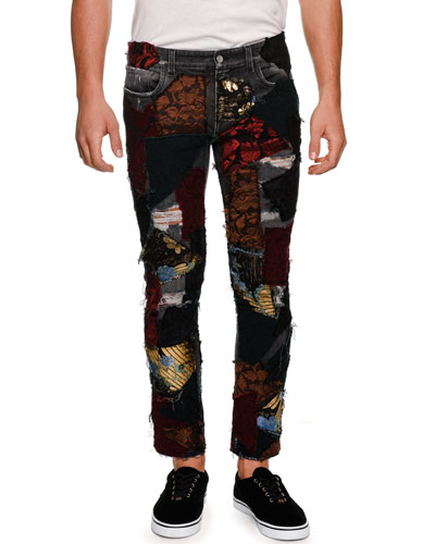 Brocade-Patchwork Straight-Leg Jeans