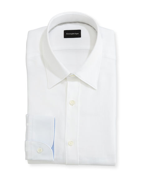 Ermenegildo Zegna Woven Mesh Regular-Fit Dress Shirt, White