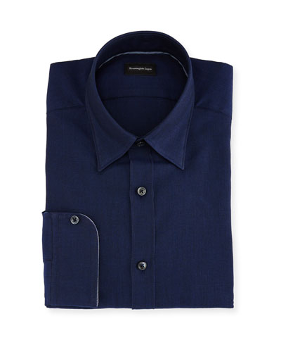 Woven Mesh Dress Shirt, Navy