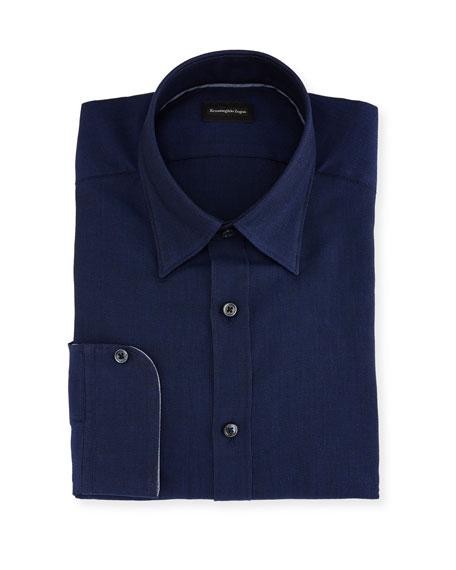 Ermenegildo Zegna Woven Mesh Regular-Fit Dress Shirt, Navy