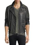 Aged Leather Biker Jacket