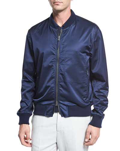 Washed Satin Bomber Jacket, Navy