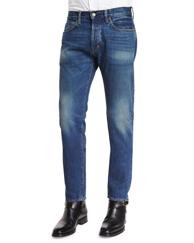 Regular-Fit Vintage Wash Selvedge Denim Jeans, Blue