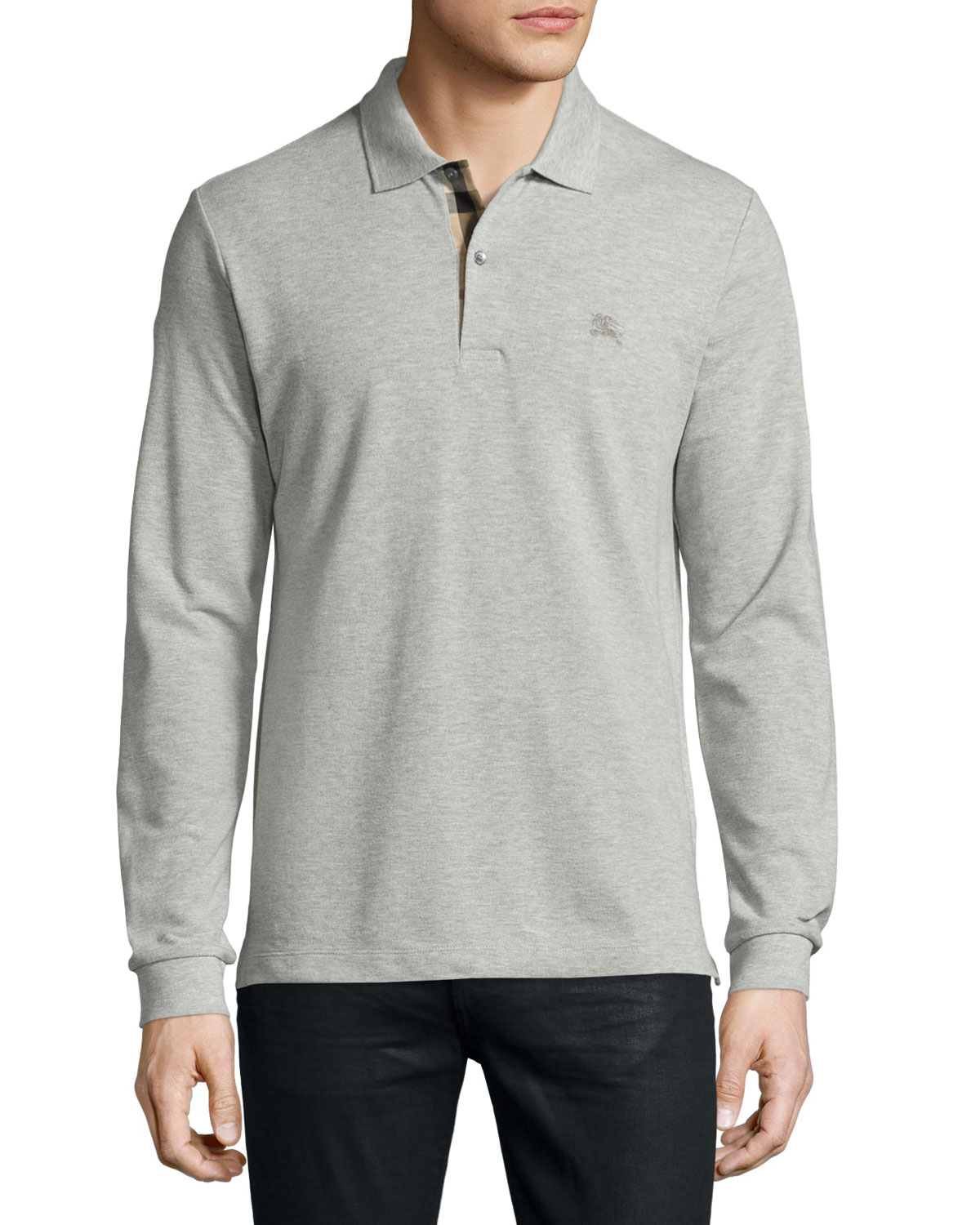Long-Sleeve Oxford Polo Shirt, Gray Melange