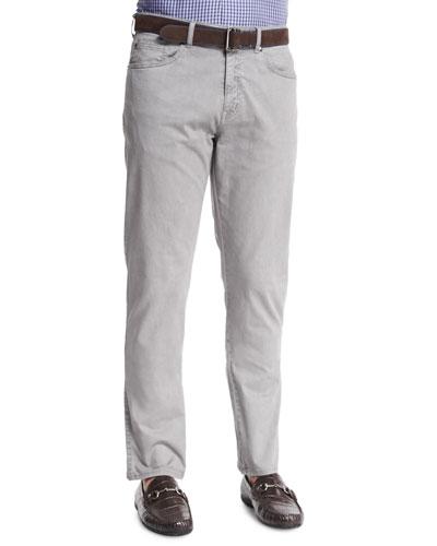 Five-Pocket Stretch-Cotton Trousers, Light Gray