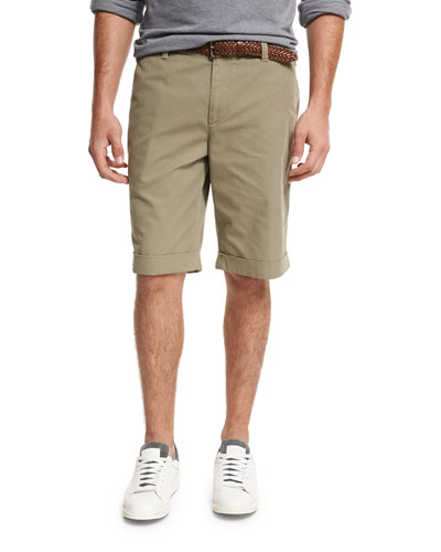 Flat-Front Cotton Shorts