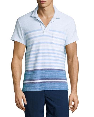 Terry Striped Polo Shirt, Maritime/Iris