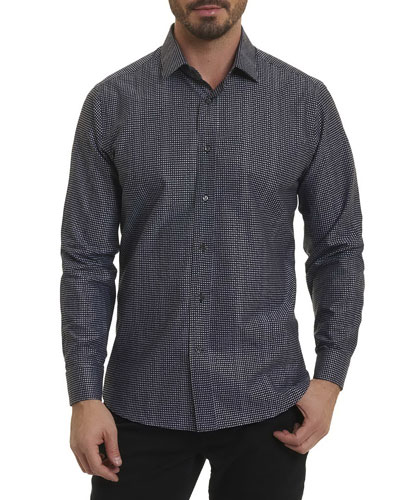 R by Robert Graham Micro-Letter Sport Shirt