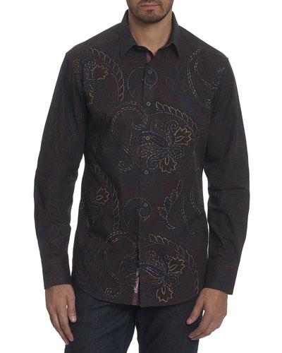 Carlyle Paisley Cotton Sport Shirt