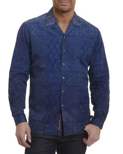 Blue Mountain Tiled Paisley Sport Shirt