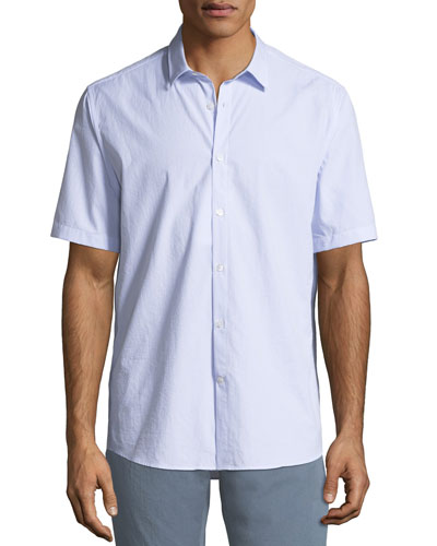 Textured Cotton Short-Sleeve Sport Shirt
