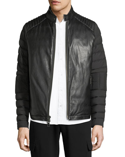 Napa Leather & Nylon Biker Jacket
