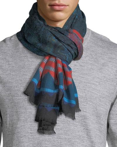 Ornate-End Wool/Silk Scarf